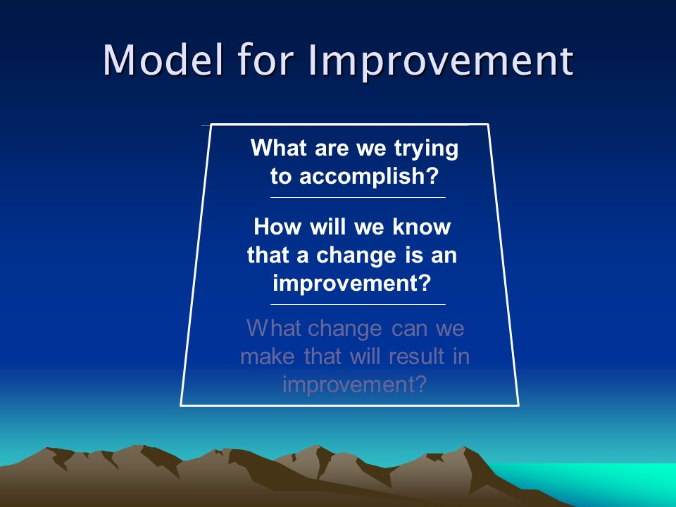 What are we trying to accomplish that a change is an improvement