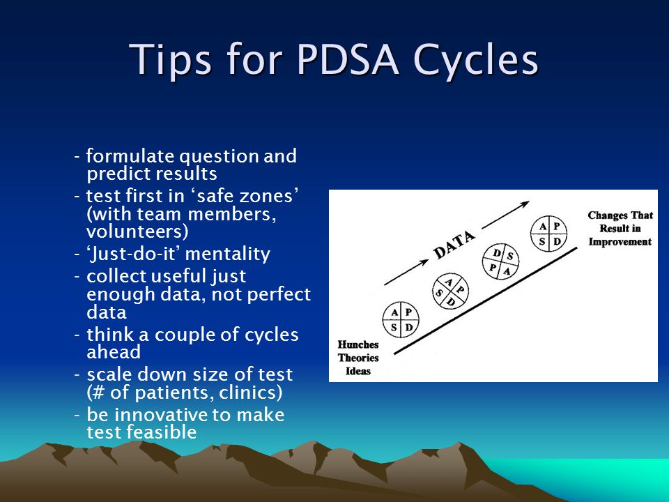 Tips for PDSA Cycles - formulate question and predict results