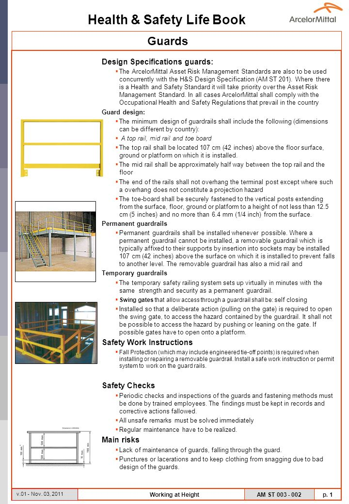 Guards Design Specifications guards: Safety Work Instructions
