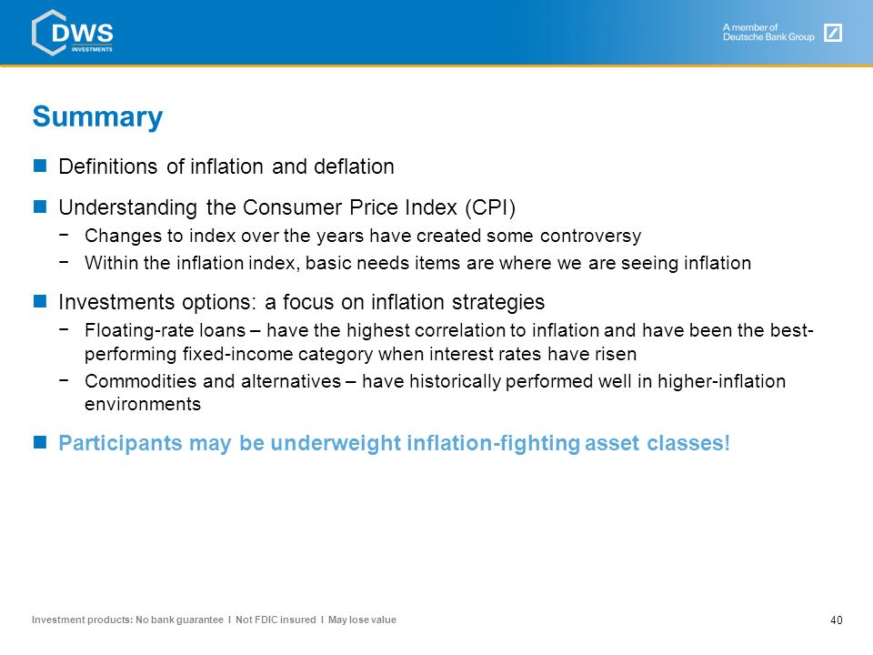 Summary Definitions of inflation and deflation