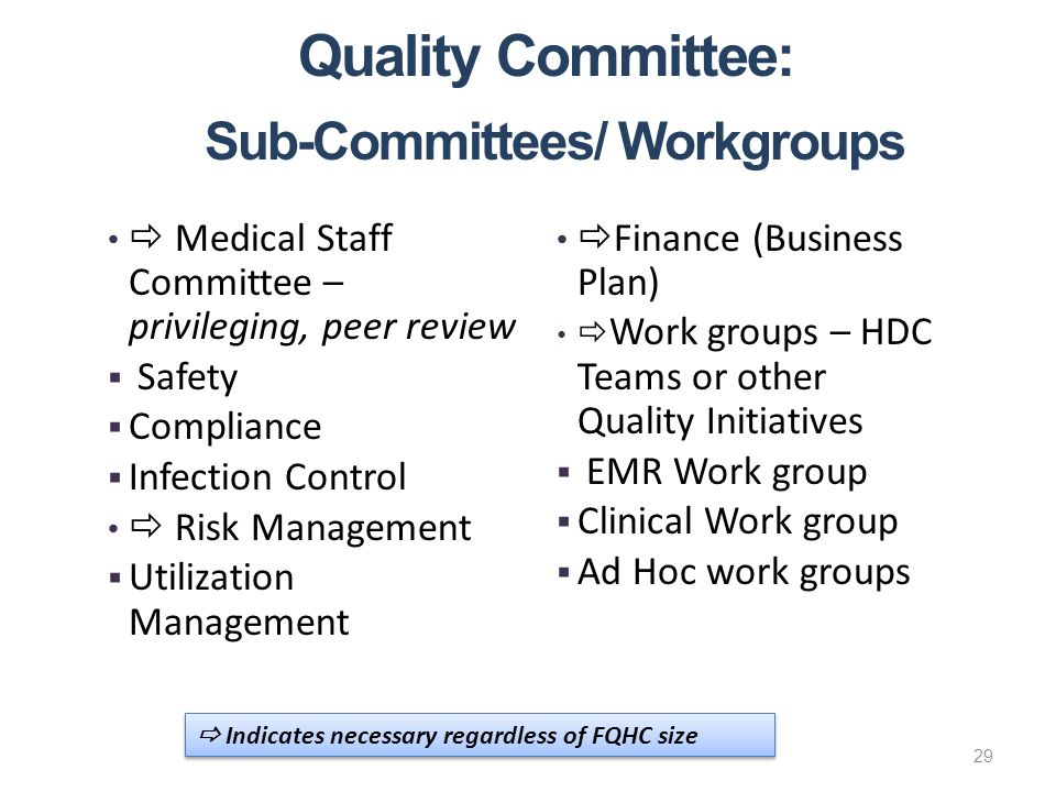 Quality Committee: Sub-Committees/ Workgroups