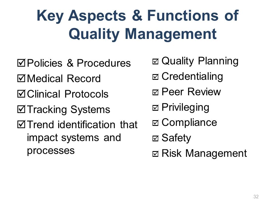 Key Aspects & Functions of Quality Management