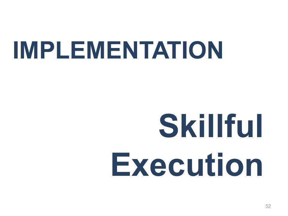 Implementation Skillful Execution