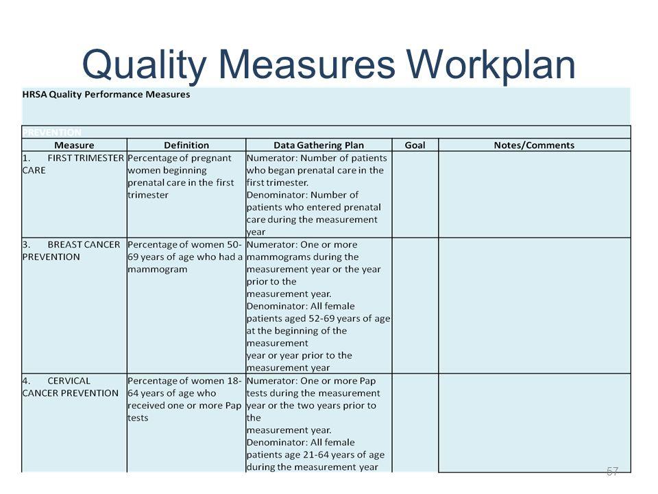 Quality Measures Workplan