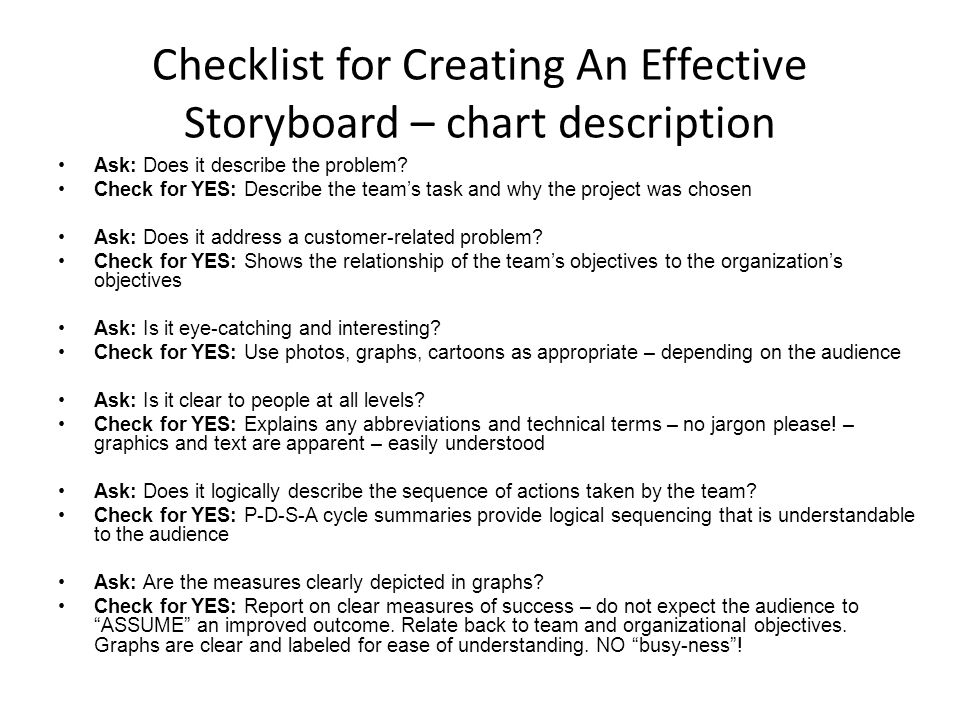 Checklist for Creating An Effective Storyboard – chart description