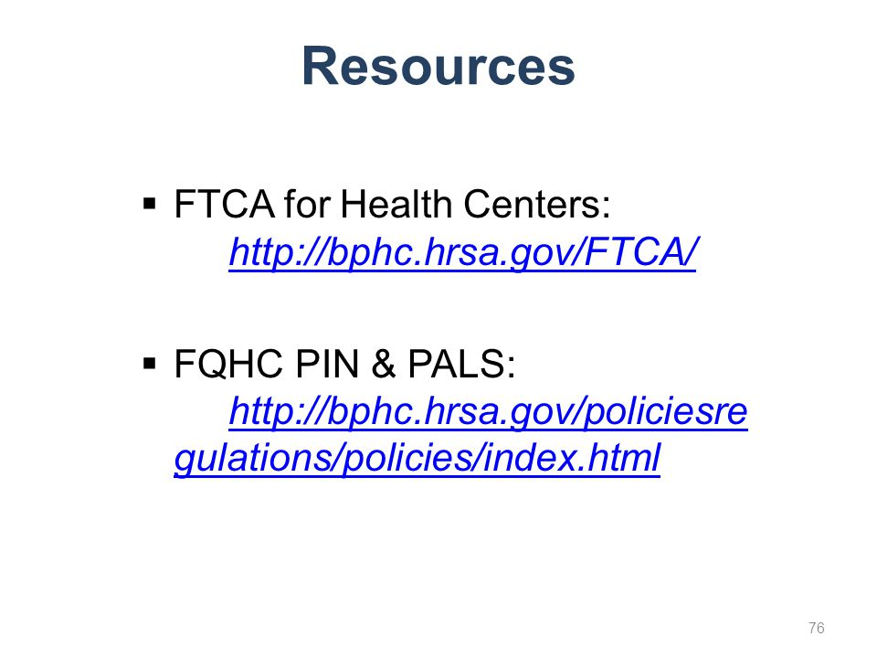Resources FTCA for Health Centers: