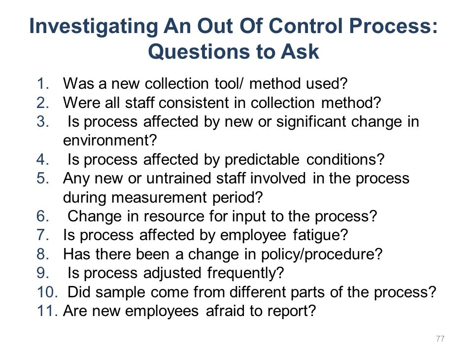 Investigating An Out Of Control Process: Questions to Ask