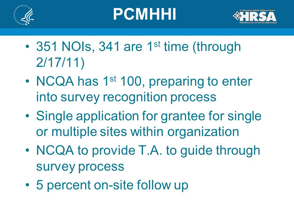 PCMHHI 351 NOIs, 341 are 1st time (through 2/17/11)