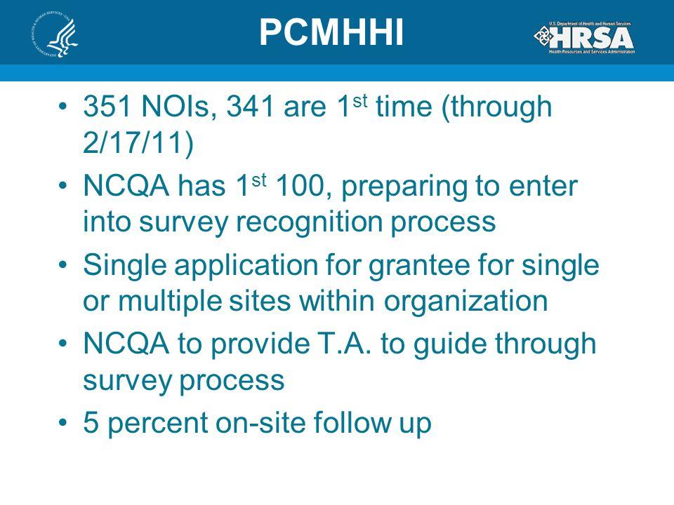 PCMHHI 351 NOIs, 341 are 1st time (through 2/17/11)
