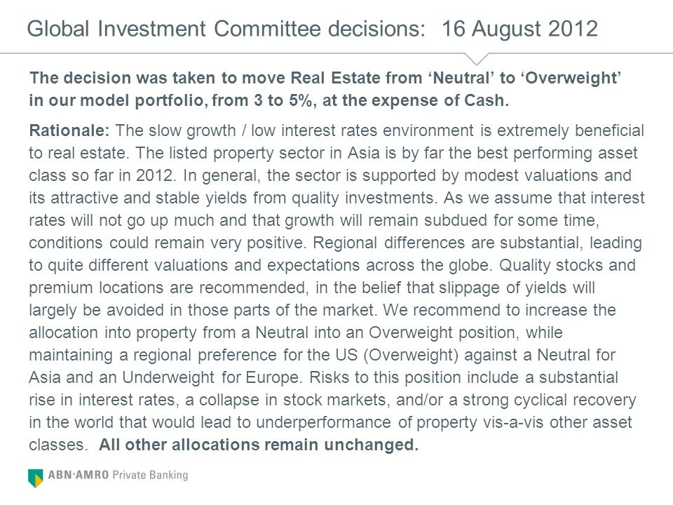 Global Investment Committee decisions: 16 August 2012