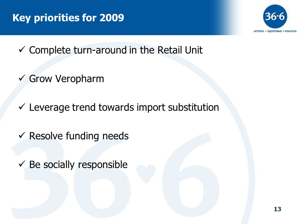 Key priorities for 2009 Complete turn-around in the Retail Unit. Grow Veropharm. Leverage trend towards import substitution.