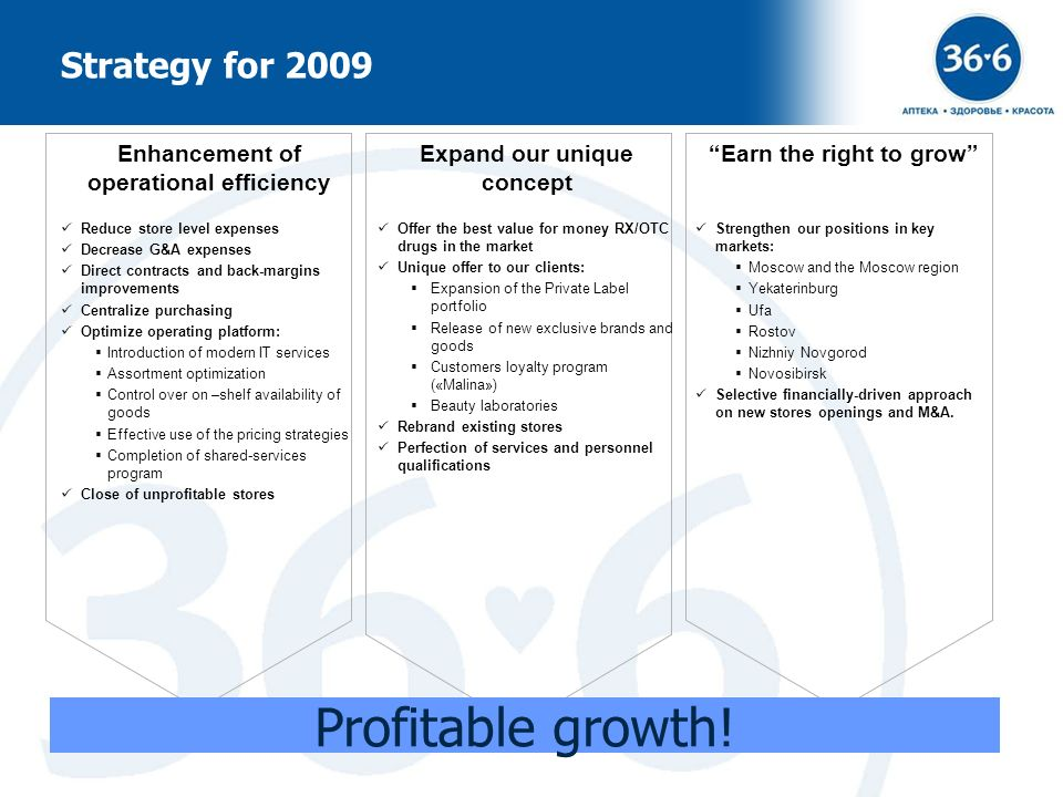 Profitable growth! Strategy for 2009