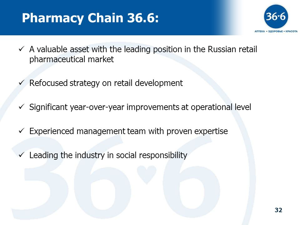 Pharmacy Chain 36.6: A valuable asset with the leading position in the Russian retail pharmaceutical market.