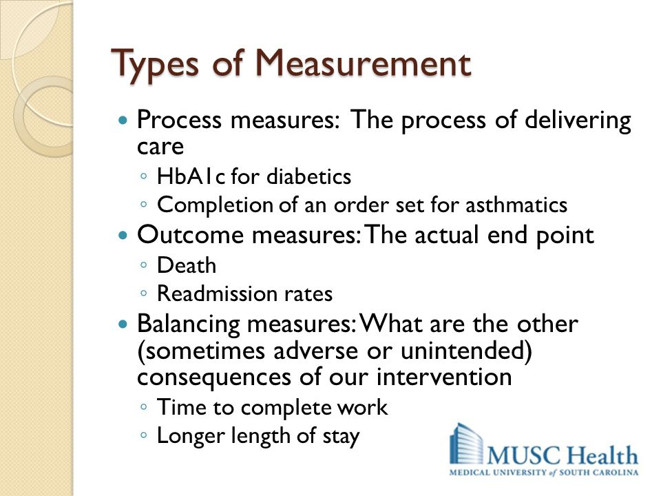 Types of Measurement Process measures: The process of delivering care