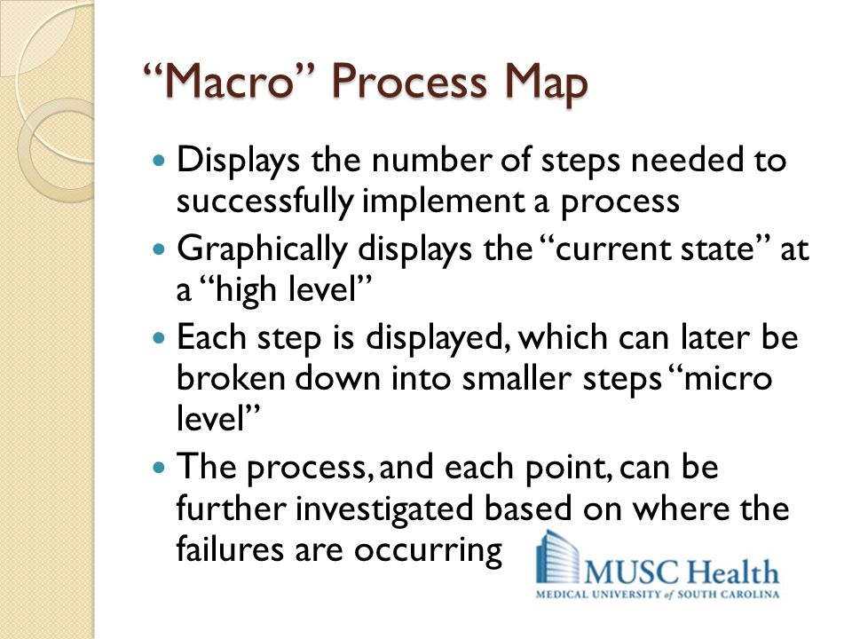 Macro Process Map Displays the number of steps needed to successfully implement a process.