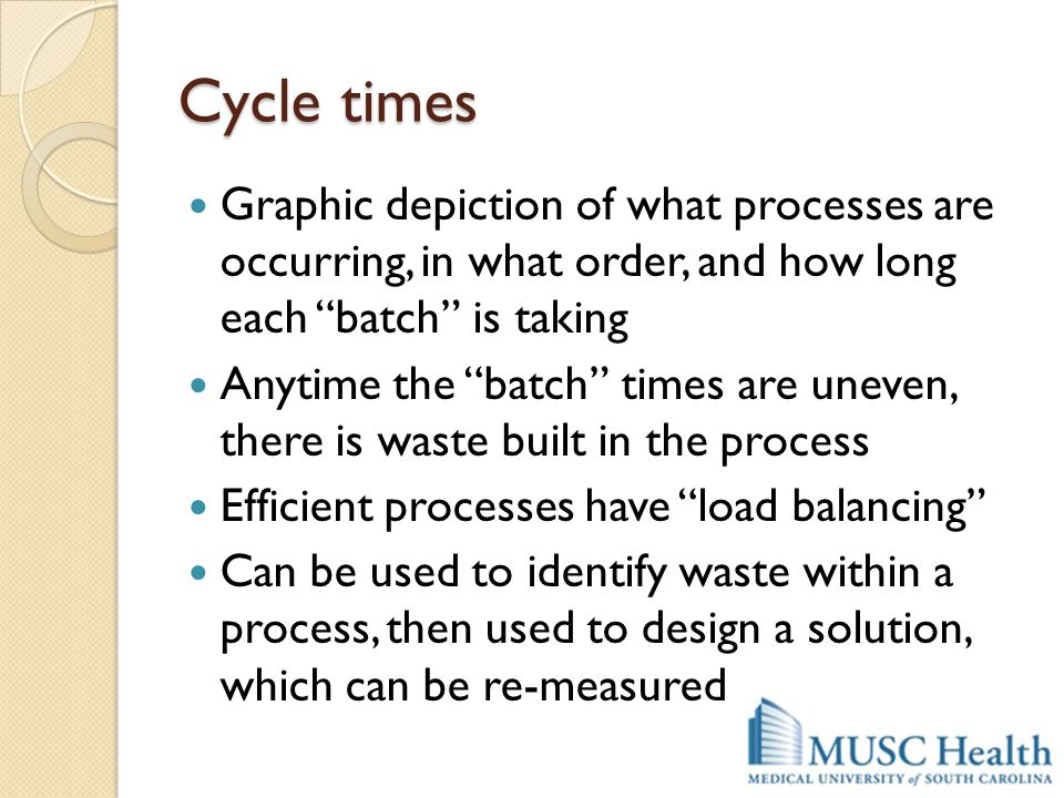 Cycle times Graphic depiction of what processes are occurring, in what order, and how long each batch is taking.