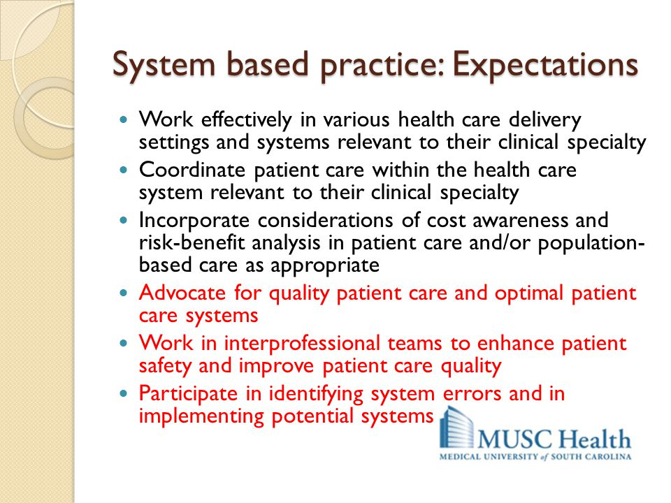System based practice: Expectations