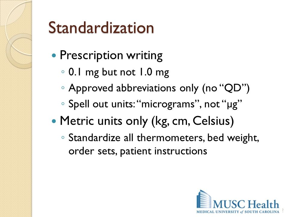 Standardization Prescription writing