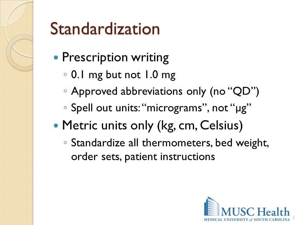 Standardization Prescription writing