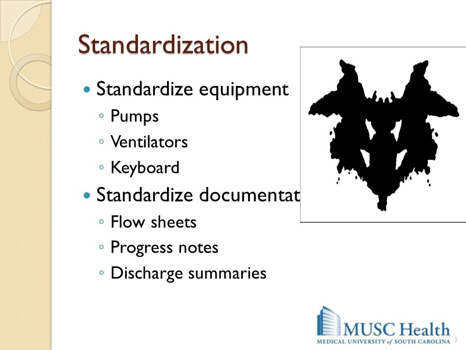 Standardization Standardize equipment Standardize documentation Pumps