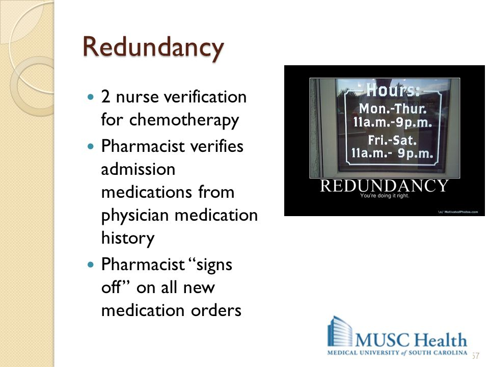Redundancy 2 nurse verification for chemotherapy