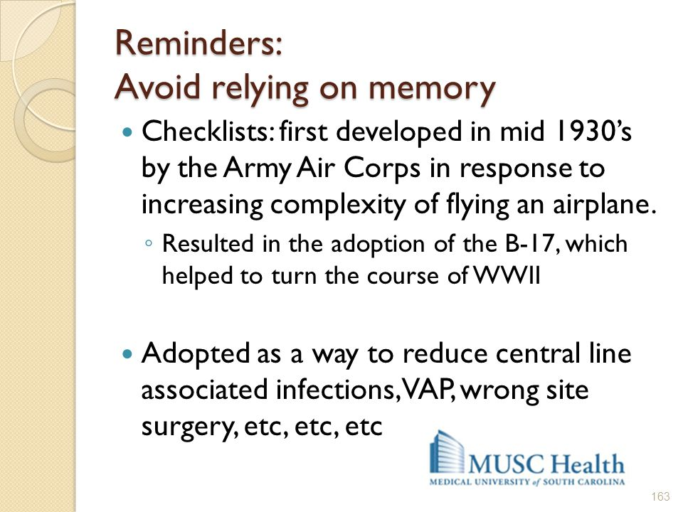 Reminders: Avoid relying on memory