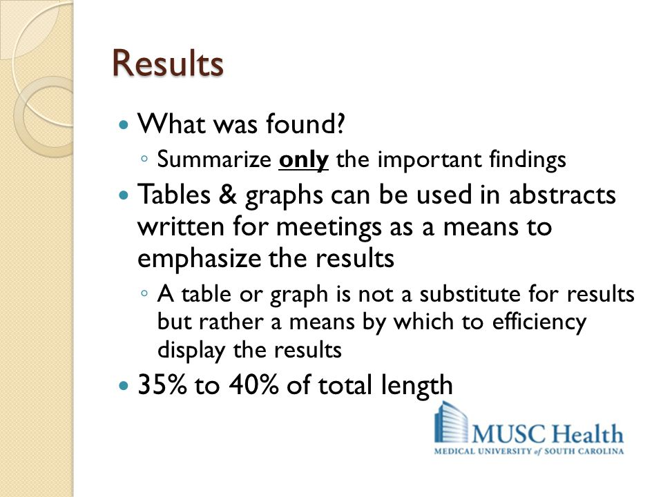 Results What was found Summarize only the important findings.