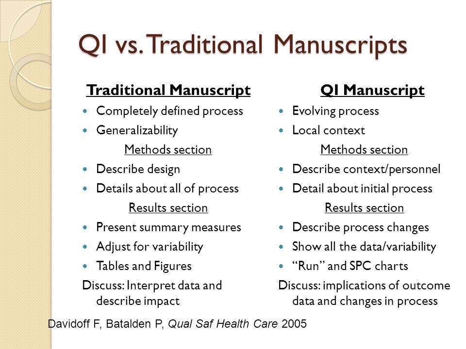 QI vs. Traditional Manuscripts