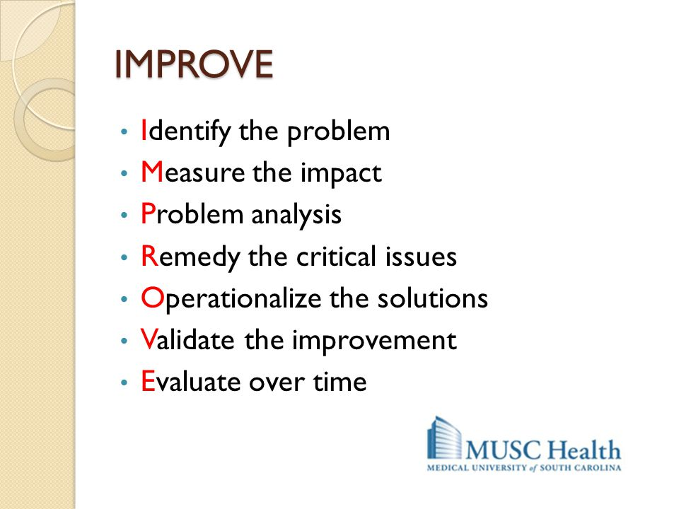 IMPROVE Identify the problem Measure the impact Problem analysis
