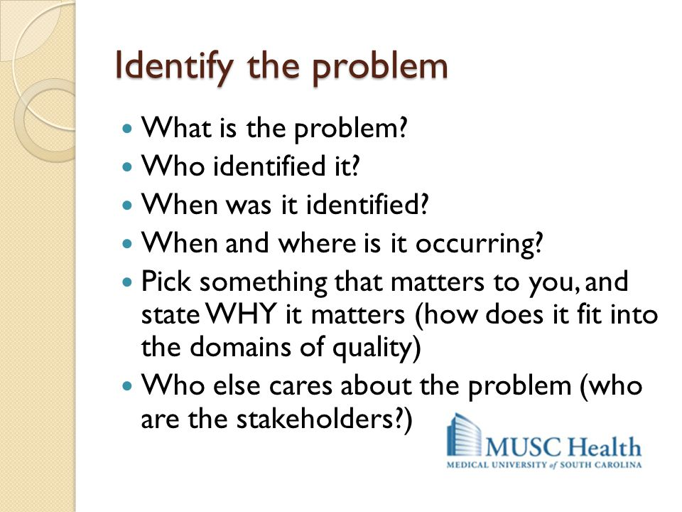 Identify the problem What is the problem Who identified it