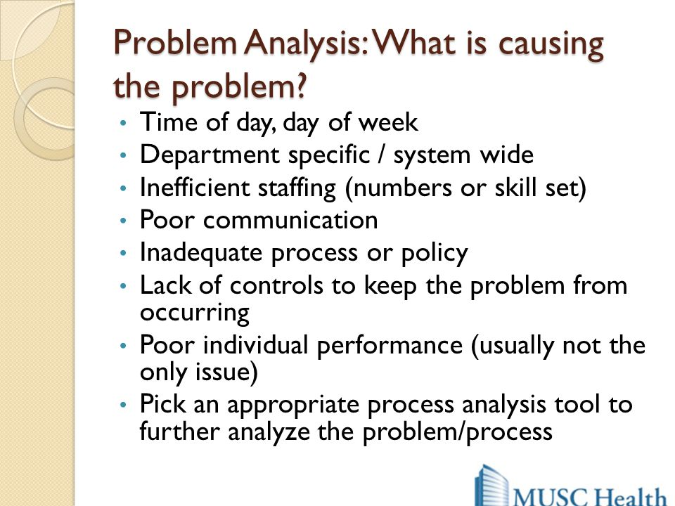 Problem Analysis: What is causing the problem