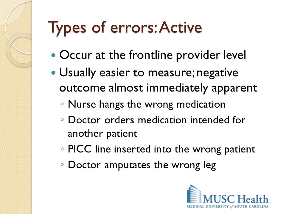 Types of errors: Active