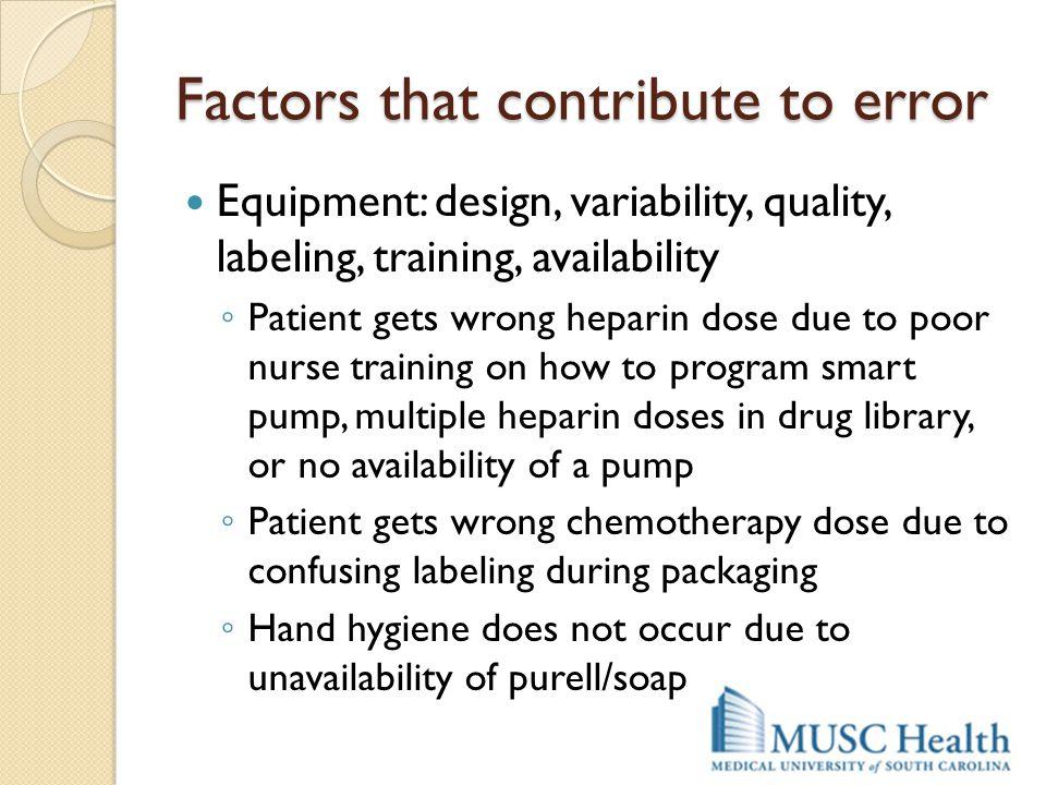 Factors that contribute to error