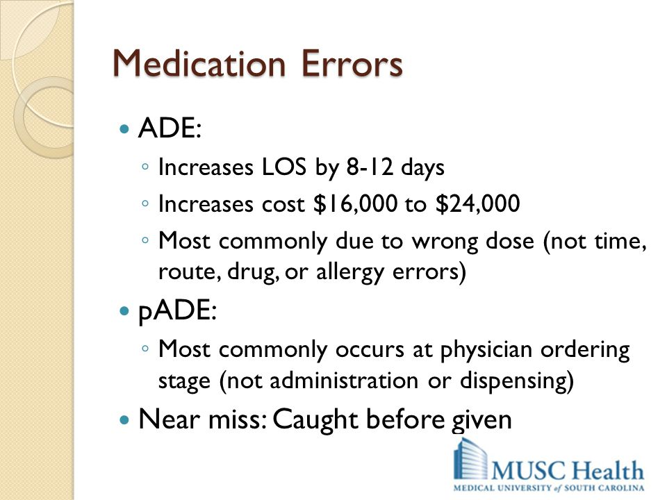Medication Errors ADE: pADE: Near miss: Caught before given