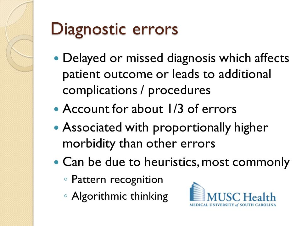 Diagnostic errors Delayed or missed diagnosis which affects patient outcome or leads to additional complications / procedures.