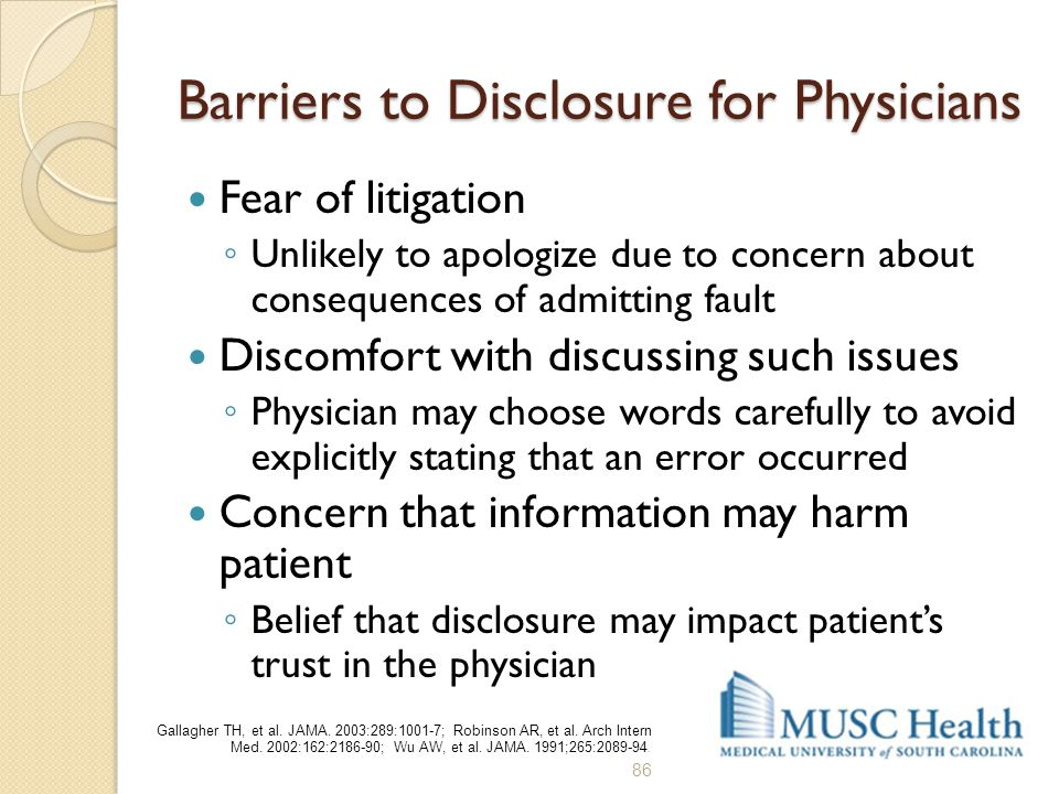 Barriers to Disclosure for Physicians