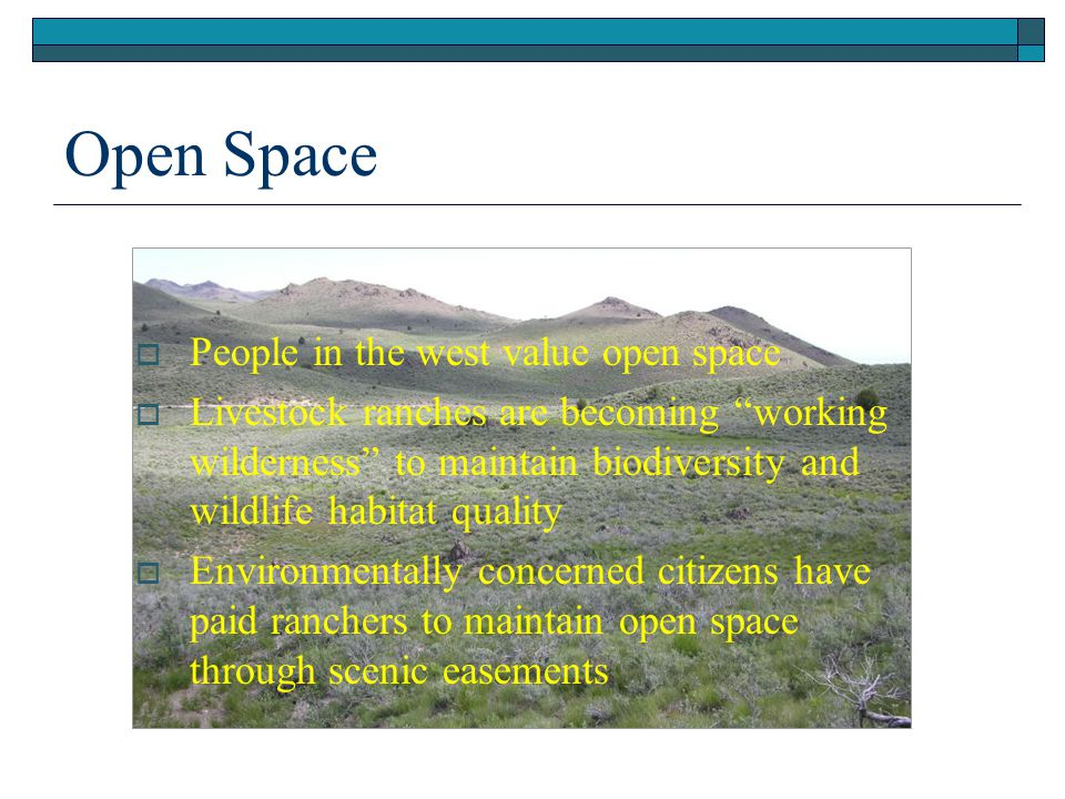 Open Space People in the west value open space