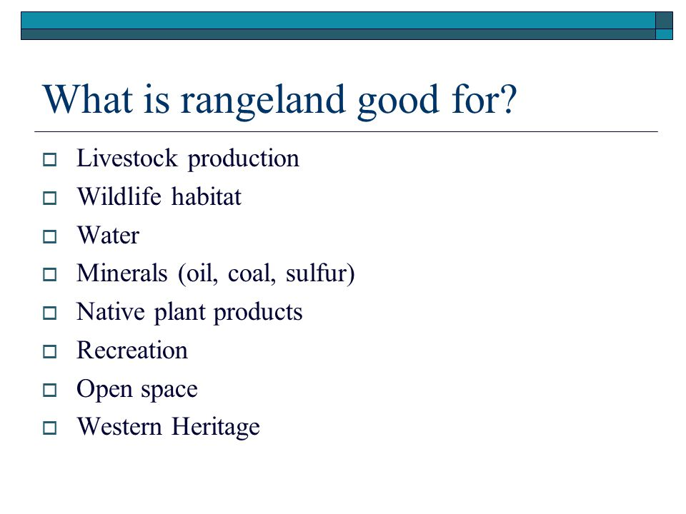 What is rangeland good for