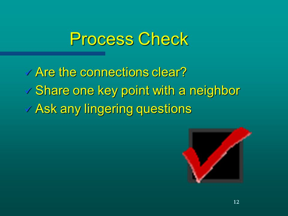 Process Check Are the connections clear