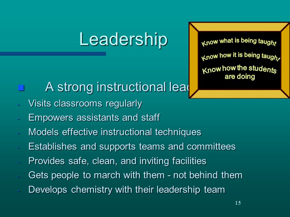 Leadership A strong instructional leader: Visits classrooms regularly