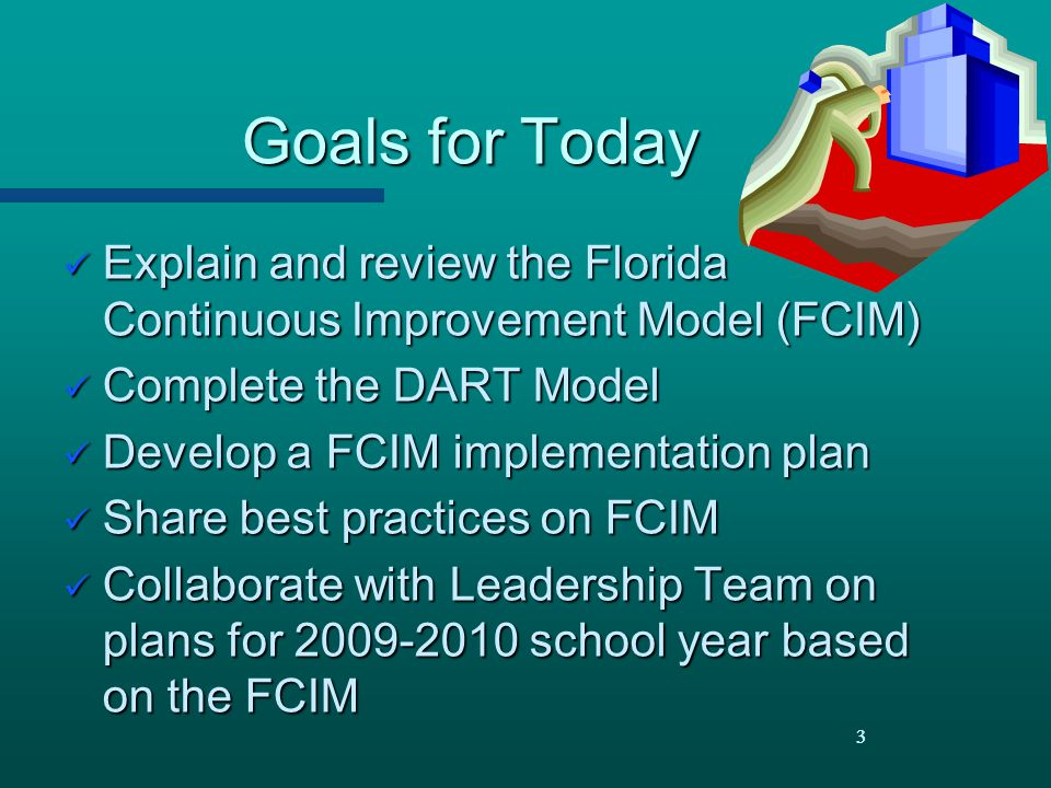 Goals for Today Explain and review the Florida Continuous Improvement Model (FCIM) Complete the DART Model.