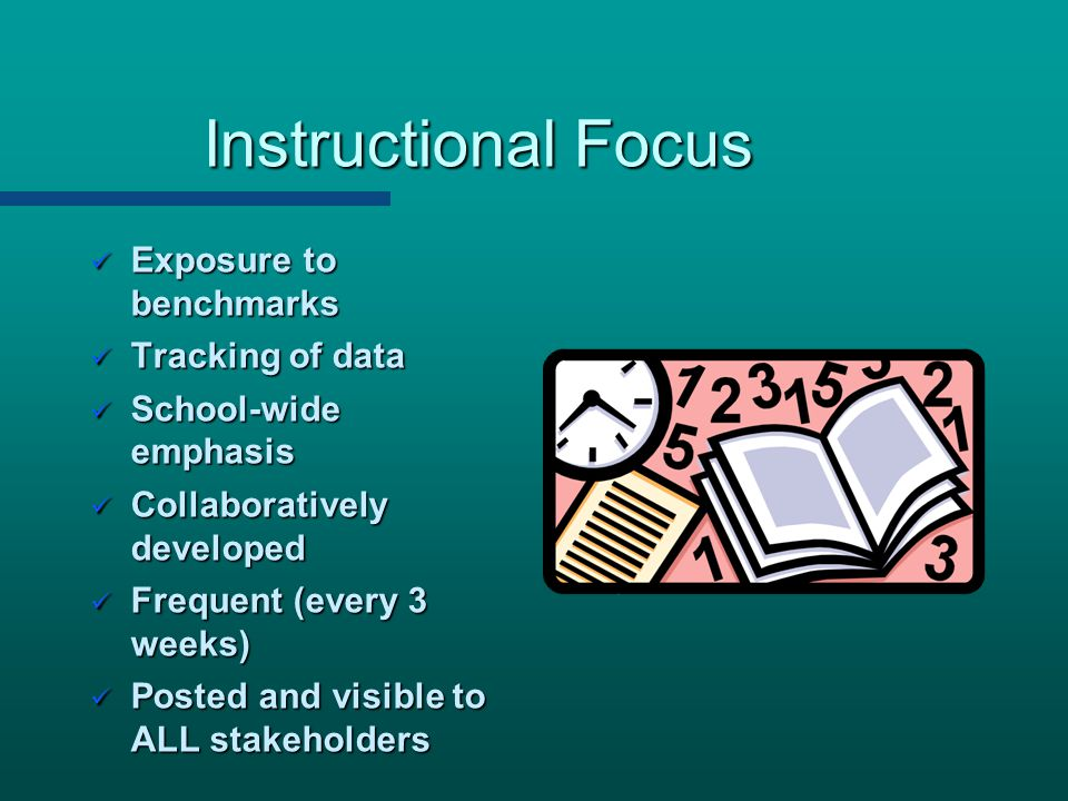 Instructional Focus Exposure to benchmarks Tracking of data