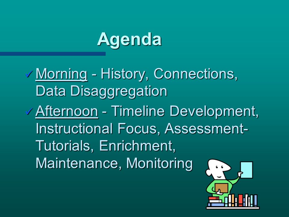 Agenda Morning - History, Connections, Data Disaggregation