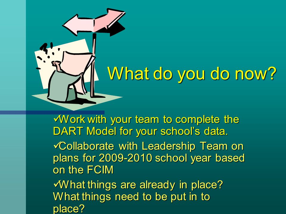 What do you do now Work with your team to complete the DART Model for your school's data.