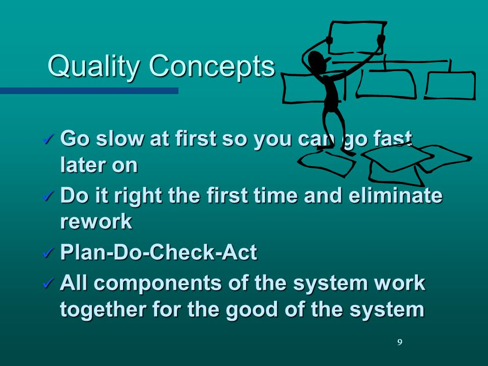 Quality Concepts Go slow at first so you can go fast later on