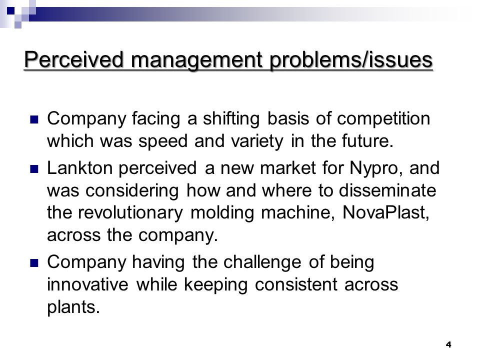 Perceived management problems/issues