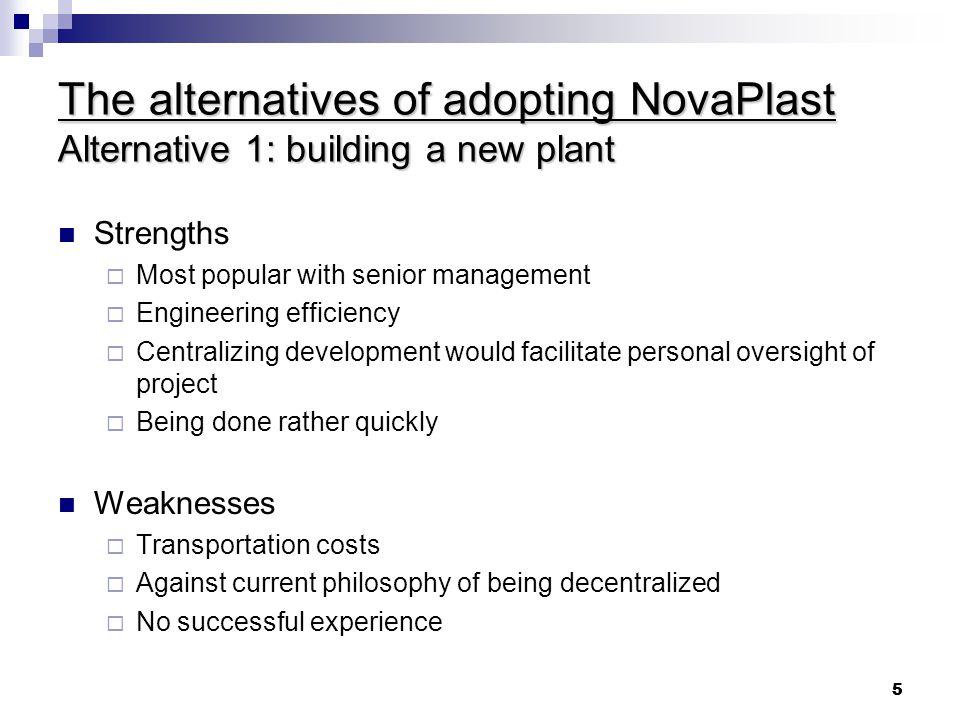The alternatives of adopting NovaPlast Alternative 1: building a new plant
