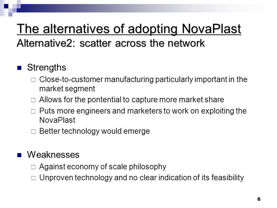 The alternatives of adopting NovaPlast Alternative2: scatter across the network