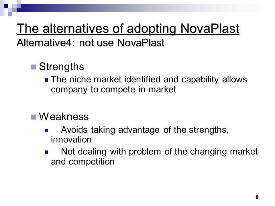 The alternatives of adopting NovaPlast Alternative4: not use NovaPlast