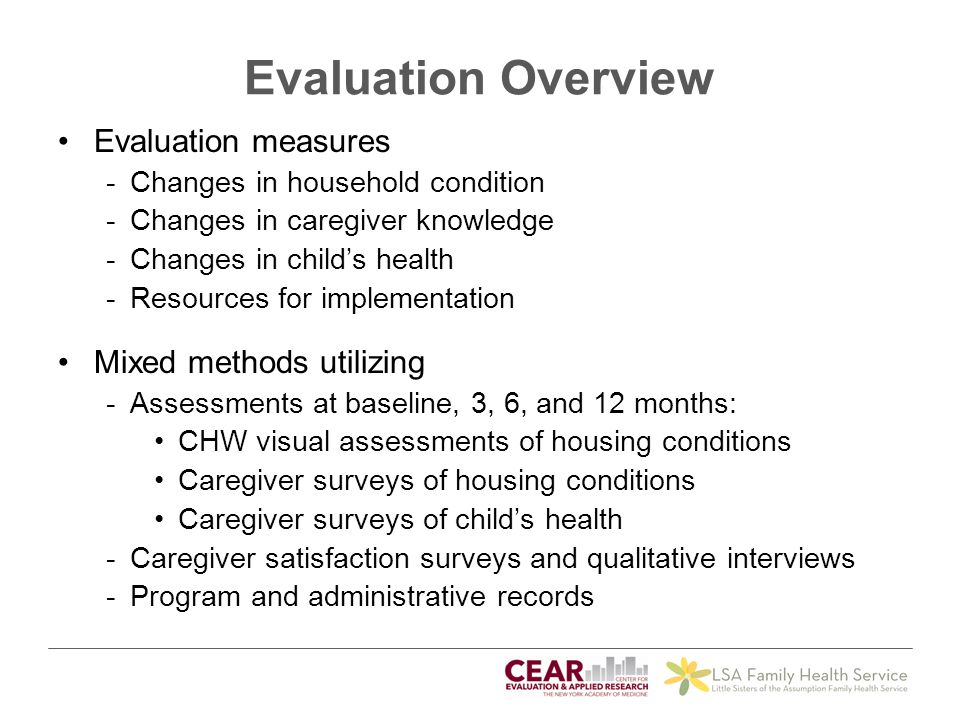 Evaluation Overview Evaluation measures Mixed methods utilizing